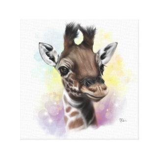 Lienzo Lona sonriente de la jirafa del bebé