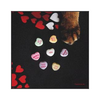 """Lienzo Los corazones del caramelo del gatito 8"""" x8"""" envol"""