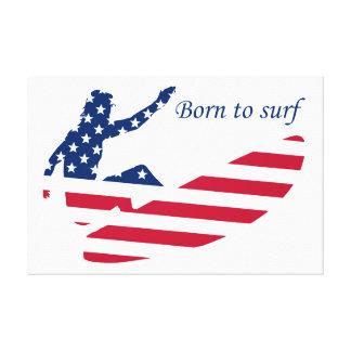 Lienzo Los E.E.U.U. que practican surf a la persona que