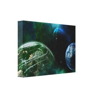 Lienzo Los planetas en espacio imprimen la lona verde y