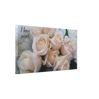 Lienzo Los rosas blancos muy románticos envolvieron la
