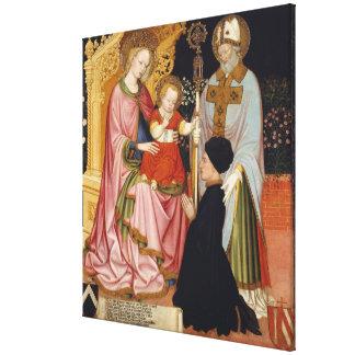 Lienzo Madonna y niño con el donante