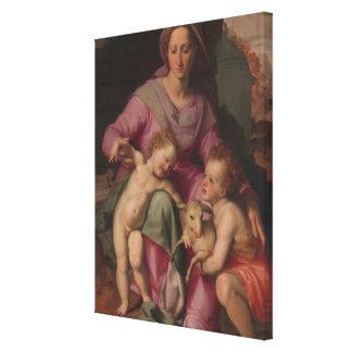 Lienzo Madonna y niño con San Juan Bautista