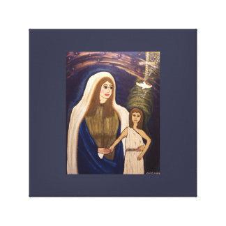 Lienzo Madre santa y Jesús joven