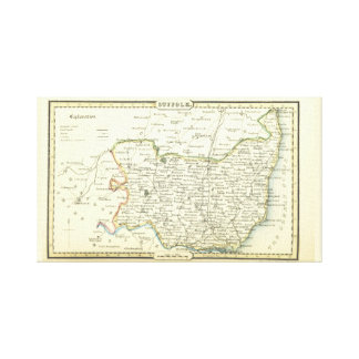 Lienzo Mapa antiguo del vintage de Suffolk (Inglaterra)