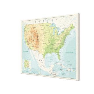 Lienzo Mapa de color retro del mundo