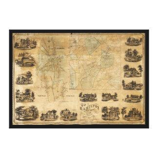 Lienzo Mapa de Hamilton, el condado de Madison, Nueva
