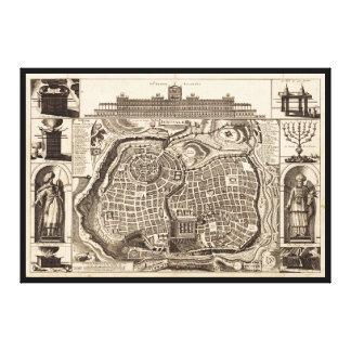 Lienzo Mapa de Jerusalén (Ierusalem) circa 1770