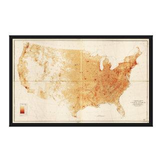Lienzo Mapa de la densidad demográfica de Estados Unidos