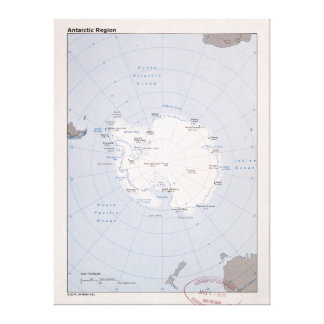 Lienzo Mapa de la Region antártica (1982)