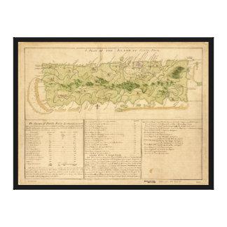 Lienzo Mapa de Oporto Rico circa 1760 (Puerto Rico)