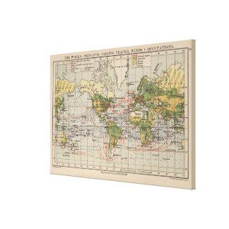 Lienzo Mapa de rutas de la navegación del mundo del