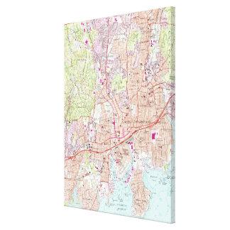 Lienzo Mapa de Stamford Connecticut (1987)