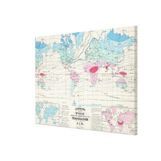 Lienzo Mapa del clima del mundo del vintage (1870)