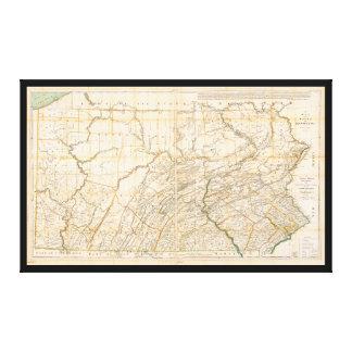 Lienzo Mapa del estado de Pennsylvania (1896)