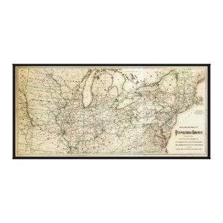 Lienzo Mapa del ferrocarril de Pennsylvania (1871)