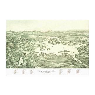 Lienzo Mapa del lago Winnipesaukee a partir de 1903