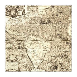 Lienzo Mapa del mundo de América de Diego Gutiérrez