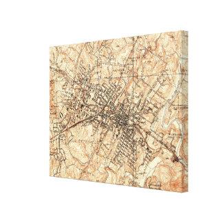 Lienzo Mapa del vintage de Charlottesville Virginia