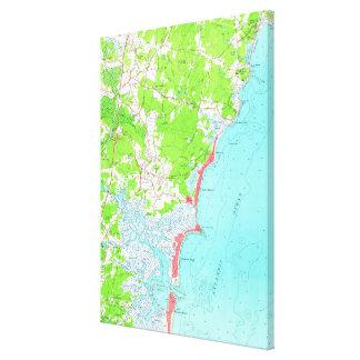 Lienzo Mapa del vintage de la playa New Hampshire (1957)