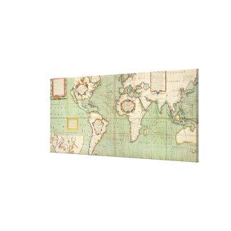 Lienzo Mapa del vintage del mundo (1702)