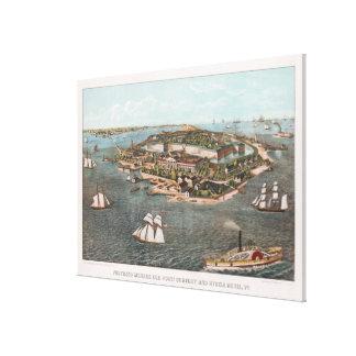 Lienzo Mapa ilustrado del vintage de Fort Monroe Virginia