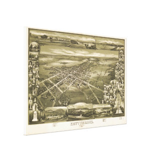 Lienzo Mapa ilustrado del vintage de PA de Gettysburg