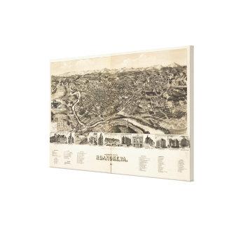 Lienzo Mapa ilustrado del vintage de Roanoke Virginia