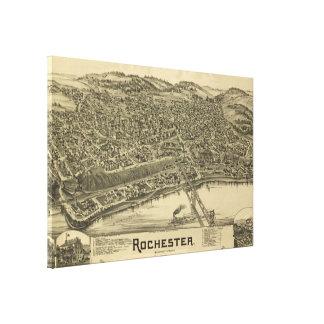 Lienzo Mapa ilustrado del vintage de Rochester PA (1900)