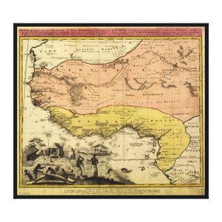 Lienzo Mapa viejo de las Áfricas occidentales circa 1743