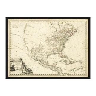 Lienzo Mapa viejo de Norteamérica (1783)