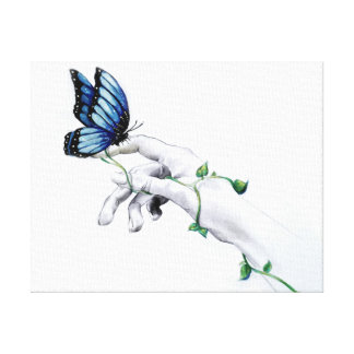Lienzo Mariposa en lona de la mano