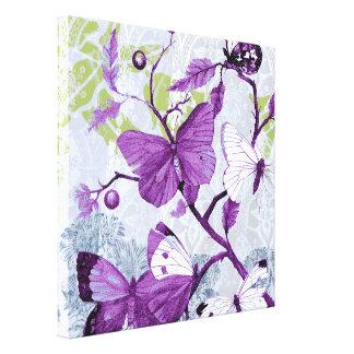 Lienzo Mariposas púrpuras en una rama
