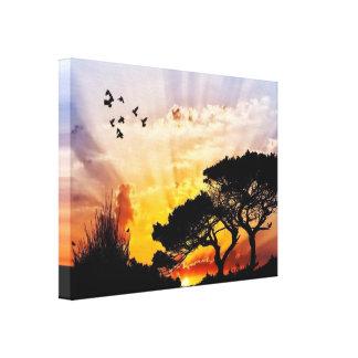 Lienzo Mariposas y pájaros Sun Set*