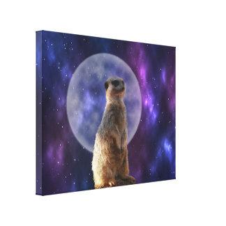 Lienzo Meerkat que se coloca delante de la Luna Llena,