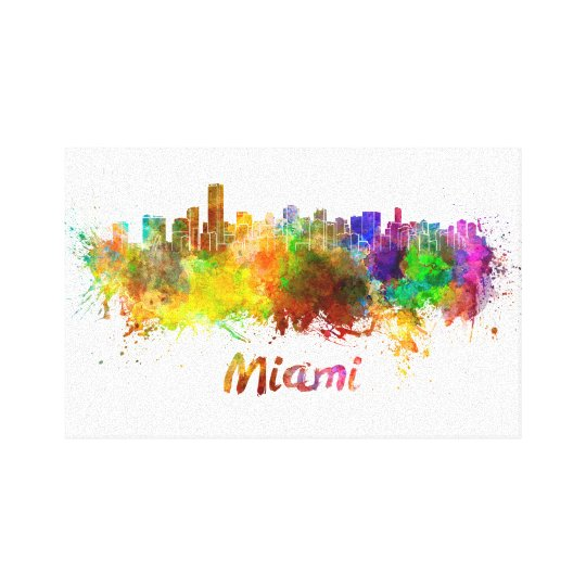 Lienzo Miami skyline in watercolor