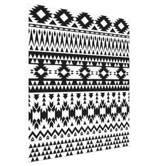 Lienzo Modelo geométrico azteca blanco y negro del vector