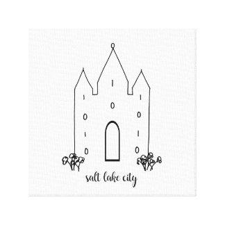 Lienzo moderno simple del templo de Salt Lake City Utah