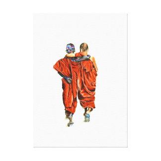 Lienzo Monjes budistas