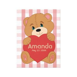Lienzo Monograma personalizado del corazón del oso de