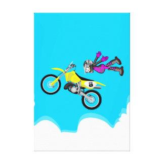 Lienzo Motocross extremo volando en el aire