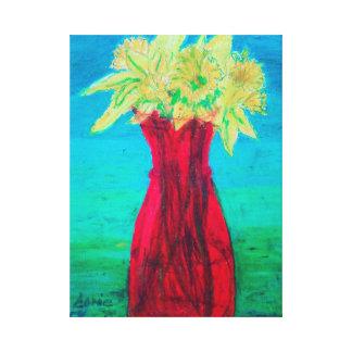 Lienzo Narcisos en florero de cristal rojo