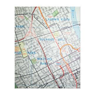 Lienzo NASHVILLE, mapa del vintage del TN
