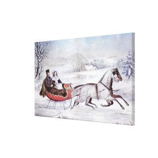 Lienzo Navidad del vintage, el invierno del camino,