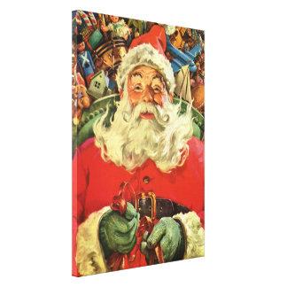 Lienzo Navidad del vintage, Papá Noel en trineo con los