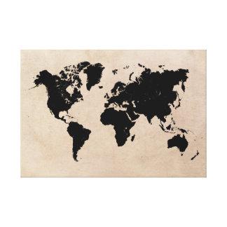 Lienzo negro del mapa del mundo