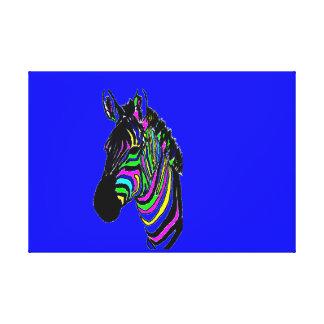 Lienzo Neón, colorido, cebra