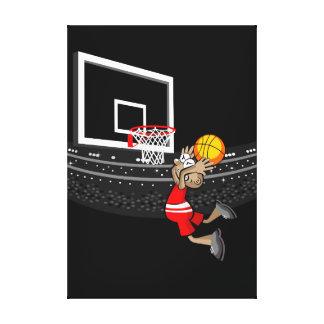 Lienzo Niño basquetbolista saltando para hacer un gol