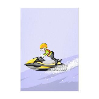 Lienzo Niño de pie en su jet ski a gran velocidad