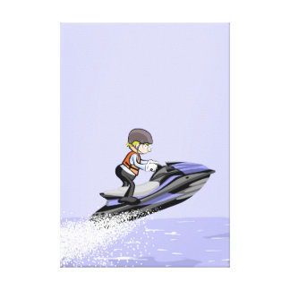 Lienzo Niño en su jet ski a gran velocidad